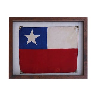 Antique Framed Silk Flag of Chile For Sale