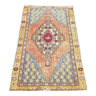 1960s Distressed Handwoven Oushak Turkish Rug- 2′3″ × 3′10″ For Sale