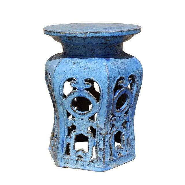 Chinese Distressed Blue Round Ru Yi Clay Ceramic Garden Stool - Image 3 of 7