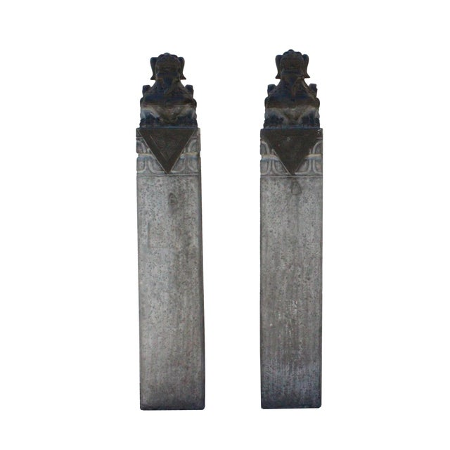 Chinese Pair Gray Black Color Stone Fengshui Pixiu Tall Slim Pole Statue For Sale - Image 11 of 11