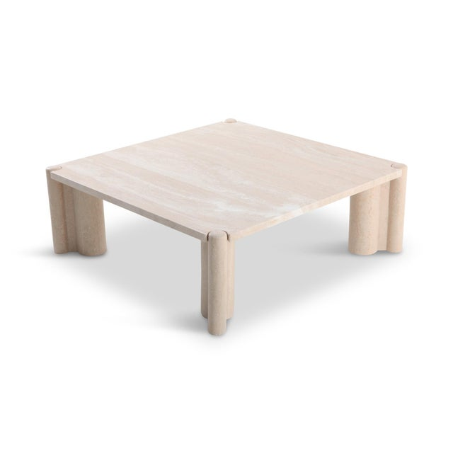 Gae Aulenti Jumbo Travertine Square Coffee Table For Sale - Image 9 of 9