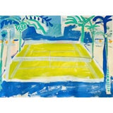 """Image of """"Courtside Vibe"""" Contemporary Fauvist Style Sport Painting by Sally King Benedict For Sale"""