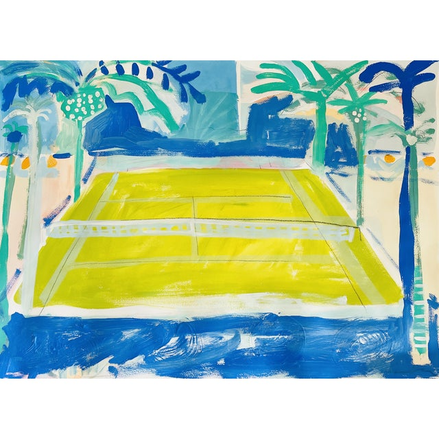 """""""Courtside Vibe"""" Contemporary Fauvist Style Sport Painting by Sally King Benedict For Sale"""