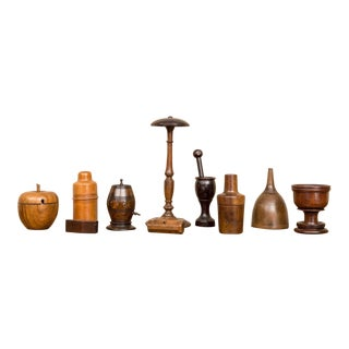 Collection of Ten Pieces of Treenware, English, circa 1830 For Sale