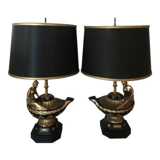 Vintage Black & Gold Gilbert Poillerat Roman Women Table Lamps - A Pair For Sale