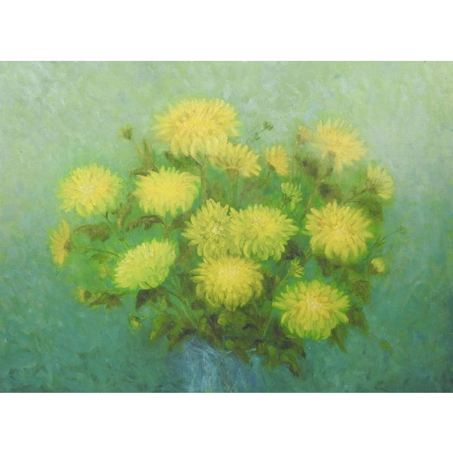Impressionist Yellow Mums Still Life Painting For Sale - Image 3 of 3