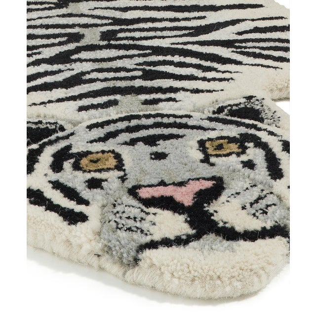 Shabby Chic Doing Goods Snowy Tiger Rug Small For Sale - Image 3 of 6