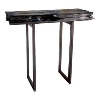 "Handmade Yakisugi Natural Edge Modern Organic Wood Metal Console Entry Table 40"" For Sale"