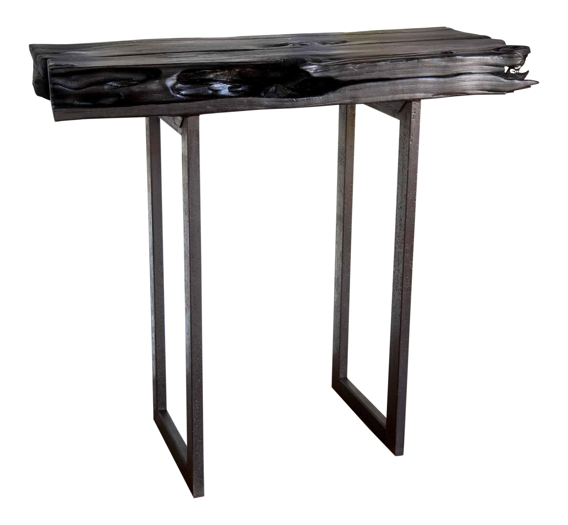 Handmade Yakisugi Natural Edge Modern Organic Wood Metal Console Entry Table