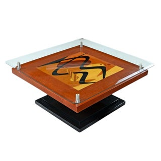 Artist Signed Modern Rosewood Wood Inlay Marquetry Pedestal Coffee Table For Sale