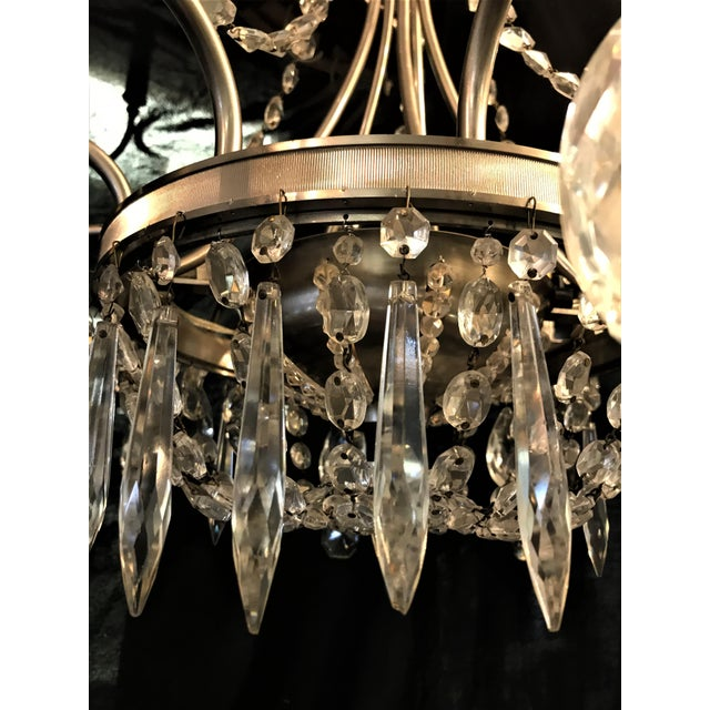 French Vintage Ten Arm Nickel and Crystal Chandelier For Sale - Image 3 of 13