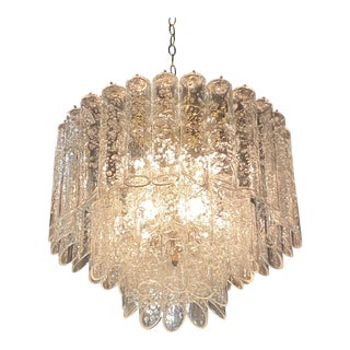 Vintage Vistosi Murano Glass Lace Design Tube 3-Tier Chandelier For Sale