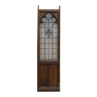 Antique Gothic Tiger Oak Church Lead Glass Window Door For Sale