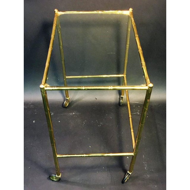 Gold EXCEPTIONAL PAIR OF BAQUES BRASS BAMBOO NESTING TABLES ON WHEELS For Sale - Image 8 of 10
