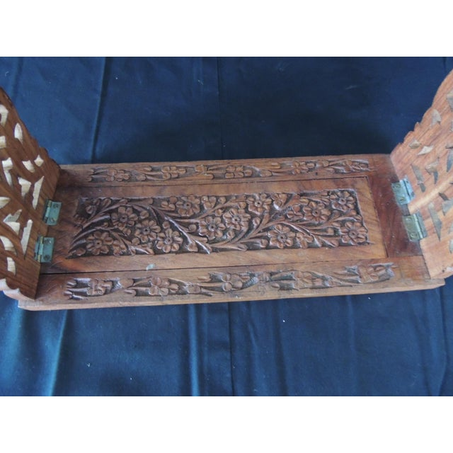 1980s Hand Carved Folding Indian Bookstand or Shelf For Sale - Image 5 of 8