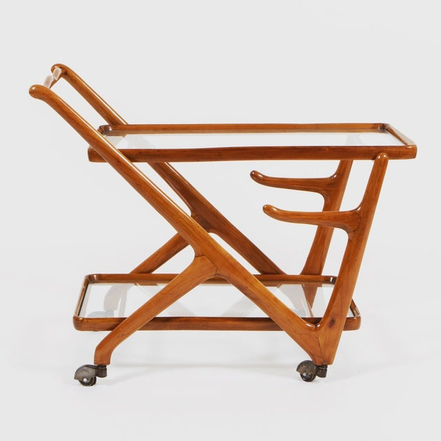 Mid-Century Modern Mid-Century Modern Cherry Wood Trolley For Sale - Image 3 of 3