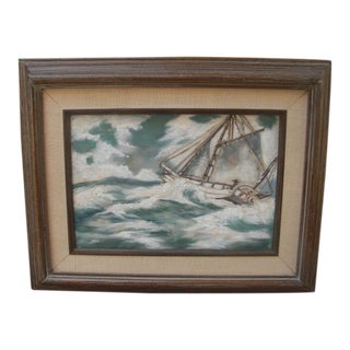 Mid 20th Century Sailboat on Rough Seas Oil on Linen Painting For Sale