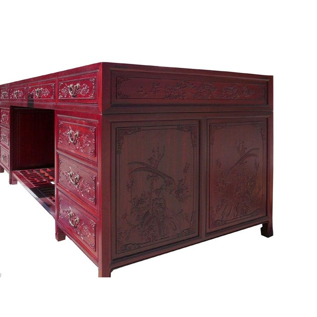 Long Rosewood Oriental Motif Office Desk/Table For Sale - Image 4 of 7