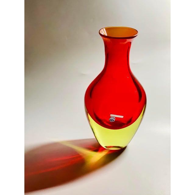 "1965 Antonio Da Ros Cenedese ""Borraccia Ovale"" Sommerso Red Vaseline Glass Vase, Signed For Sale - Image 11 of 12"