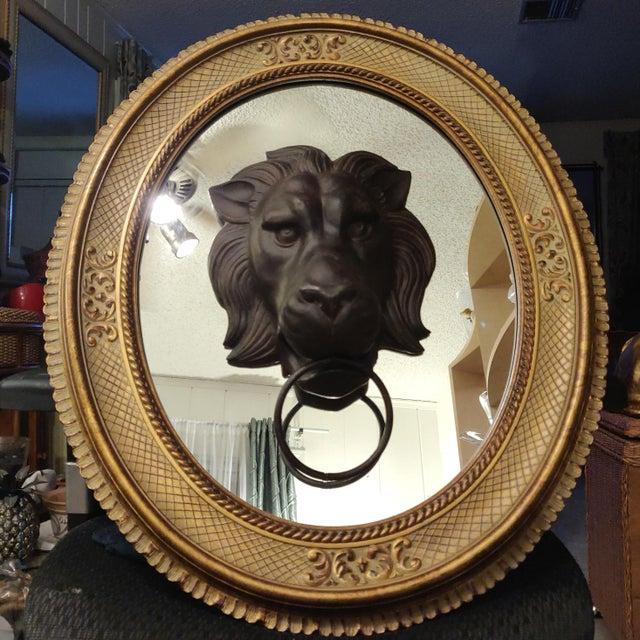 2010s Lion Head Door Knocker Framed by a Vintage Golden Oval Mirror For Sale - Image 5 of 6