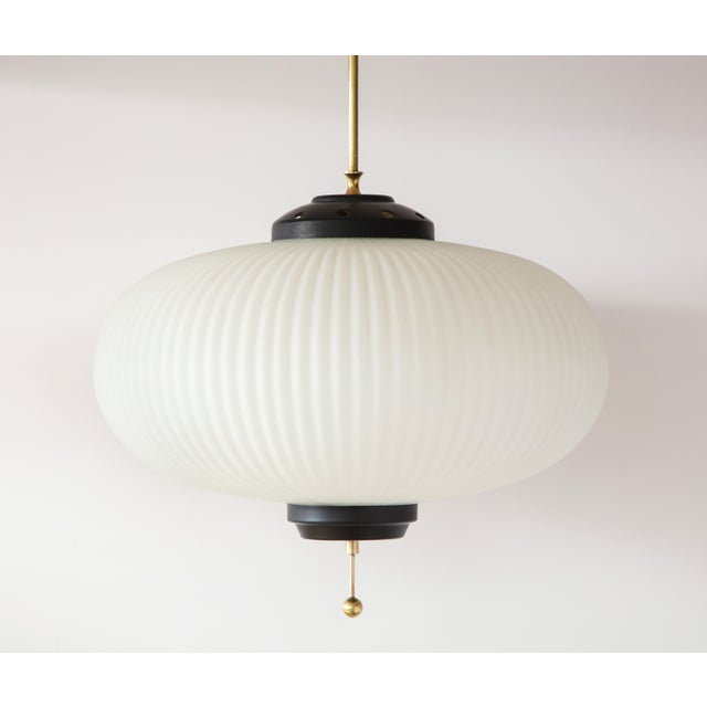 Stilnovo Stilnovo Ribbed Milk Glass Globe Lantern For Sale - Image 4 of 13