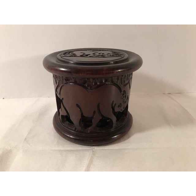 20th Century Safari Wooden Carved Rhino Coaster Set - 8 Pieces For Sale - Image 13 of 13