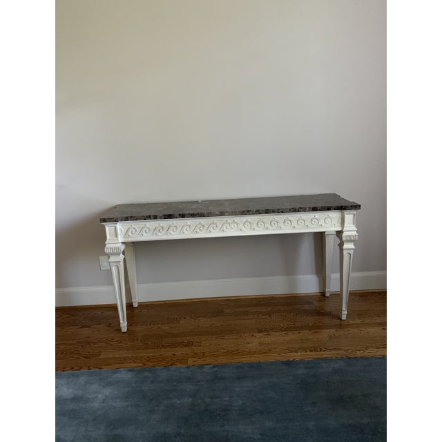 Vintage Louis XVI Style Henredon Ivory/Brown Marble Console For Sale - Image 13 of 13