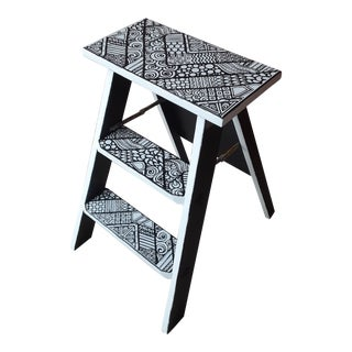 Vintage Black and White Abstract Stenciled Step Ladder For Sale