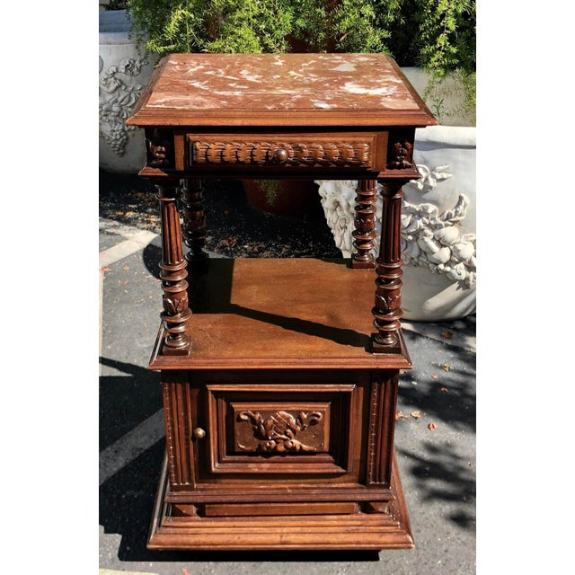 Antique Old Paris Apartment Carved Mahogany Night Stand or End Table For Sale - Image 4 of 4