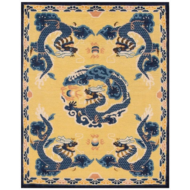 Vintage Yellow Dragon Peking Chinese Wool Rug 5 Ft 2 in X 6 Ft 7 In. For Sale In New York - Image 6 of 6