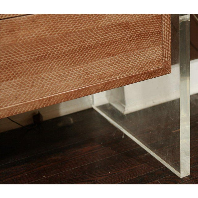 Lucite Snake Skin Dresser with Lucite Side Panels For Sale - Image 7 of 9
