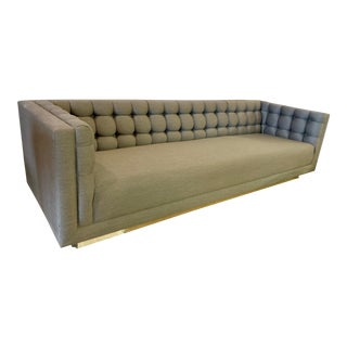 1970s Vintage Milo Baughman Chrome and Tufted Gray Sofa For Sale