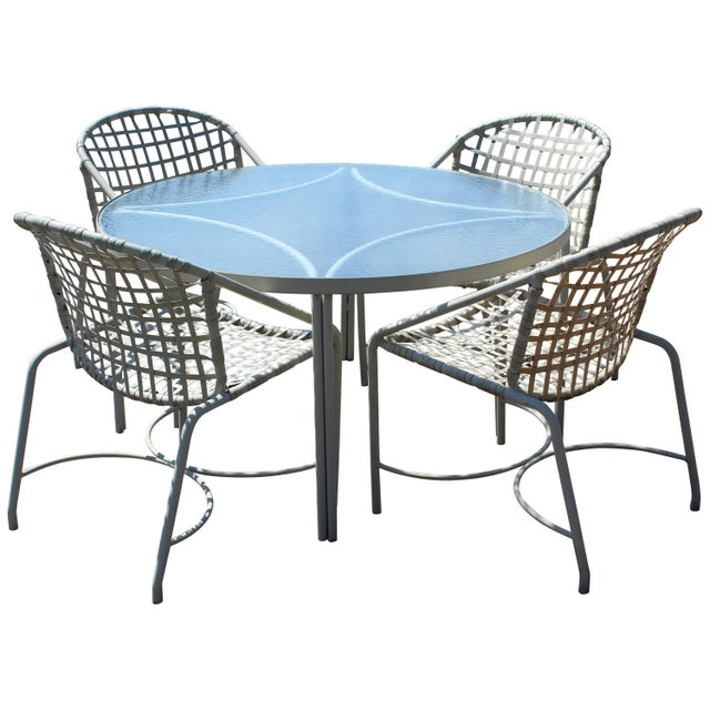White Mid-Century Modern Brown Jordan Kantan Patio Dinette Set Table Four Chairs 1960s For Sale - Image 8 of 8