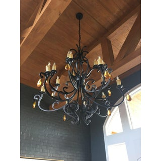 Wrought Iron & Crystal Chandelier Preview