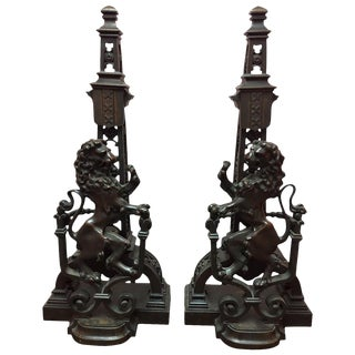 Pair of French Lion Motif Bronze Andirons, 19th Century For Sale