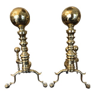 Massive Antique Polished Brass Ball & Claw Georgian Andirons For Sale