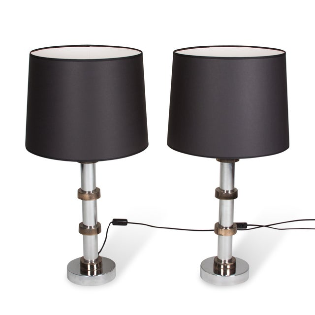 Vintage 1960s Faux Bamboo Chrome Lamps - A Pair - Image 4 of 8