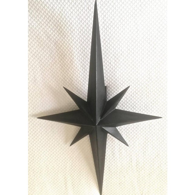 Metal Awesome Pair of Wrought Iron Star Sconces Attributed to Tom Dixon First Period For Sale - Image 7 of 7
