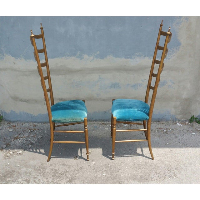 1950s 1950's Italian Exaggerated Ladder Back Chairs - a Pair For Sale - Image 5 of 7
