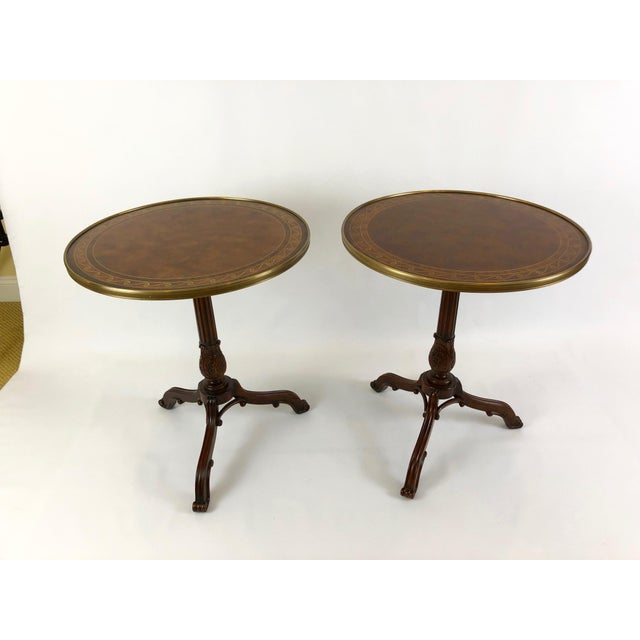 1990s Neoclassical Theodore Alexander Burl & Zebrawood Round Side Tables - a Pair For Sale - Image 9 of 9
