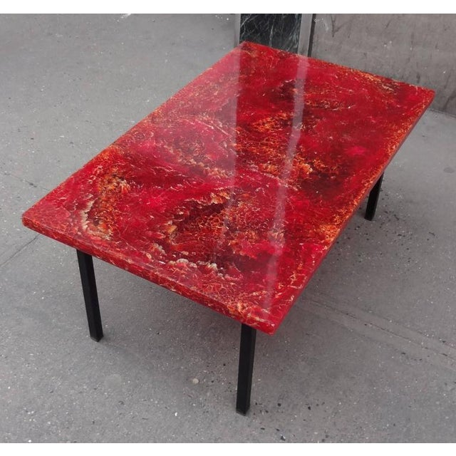 Pierre Giraudon Style Mid-Century Cocktail Table in Crackled Resin in the Style France circa 1965 For Sale In New York - Image 6 of 7