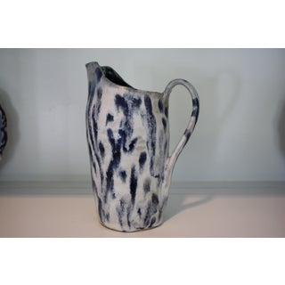 Abstract Handmade Blue & White Stoneware Pitcher Preview