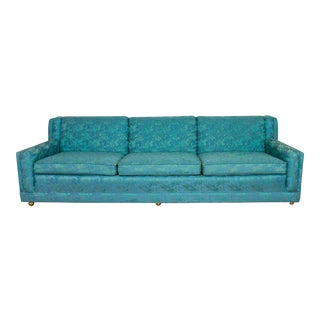 Turquoise Blue Sofa, Mid Century Floral Paisley Pattern, 1950's / 1960's