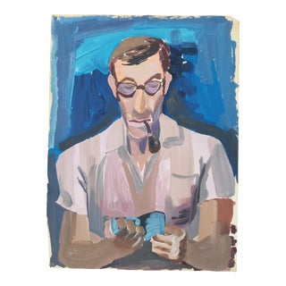 1950's Figurative Portrait Painting by Herman Volz For Sale