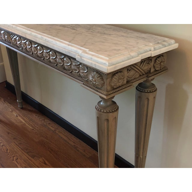Neoclassical Neoclassical Paint Decorated Marble Top Console Table For Sale - Image 3 of 5
