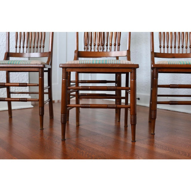 Art Nouveau Early 20th Century Antique Stomps-Burkhardt Walnut Dining Chairs - Set of 4 For Sale - Image 3 of 10