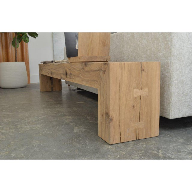 Ozshop Antique Oak Waterfall Leg Beam Bench For Sale - Image 4 of 5
