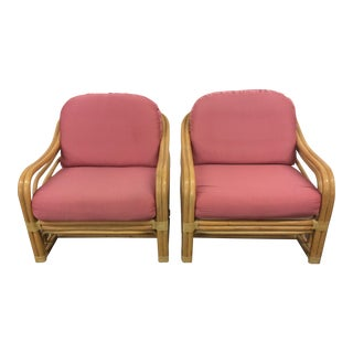 20th Century Brown Jordan Rattan Club Chairs- a Pair For Sale