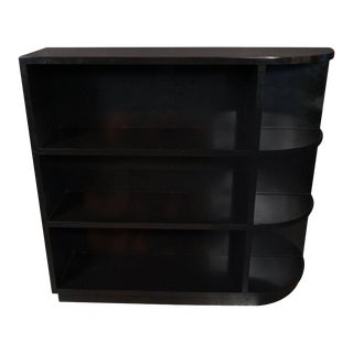 "Art Deco Streamlined Machine Age Black Lacquer ""Bullet"" Bookcase For Sale"