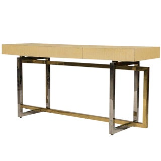 Paul Evans Style Chrome and Brass Based Console Table or Sideboard For Sale